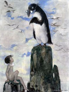 "This image was illustrated by Jessie Wilcox Smith in charcoal, watercolor and oil and titled ""And there he saw the last of the gairfowl."" The illustration is from The Water Babies, published in 1916, a children's novel written by the Reverend Charles Kingsley and published as a book in 1863. Before that the story was serialized in Macmillan's magazine in 1862 and 1863. The book was extremely popular and remained a mainstay of children's literature through the 1920s."