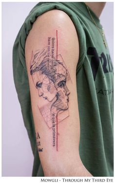 Graphic style right upper arm tattoo including the phrase 'Quiero hacer contigo lo que la primavera hace con los cerezos', Spanish for 'I want to do with you what Spring does to the cherry trees'.