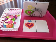 Busy Box Activities. I especially like the foam design idea. Create a foam design on one side of card and have child recreate that design on the blank side.