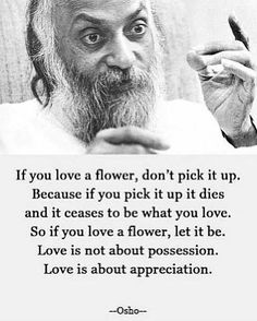 Love is not about possession. Love is about appreciation.