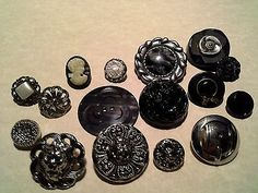 Vintage Black & Silver Toned  Mixed Assortment Of Buttons