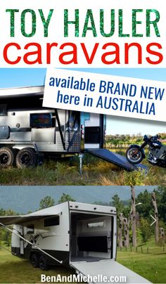 They're not as popular as conventional caravans... but there are toy hauler caravans manufactured right here in Australia. Check out all the toy haulers that we've been able to find available right now in Australia. Toy hauler caravans Australia | Toy hauler travel trailers | Toy haulers Australia Small Caravans, Vintage Caravans, Toy Hauler Travel Trailer, Camper Trailers, Travel Trailers, Toy Hauler Camper, Camper Trailer Australia, Camping With Kids