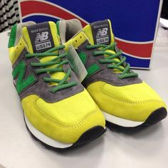 1305a6778c98b New Balance Custom 574 with Green Reflective Rope Laces