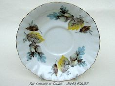 Richmond Bone China Tea Cup Saucers Showing Acorns & Leaves Look in VGC