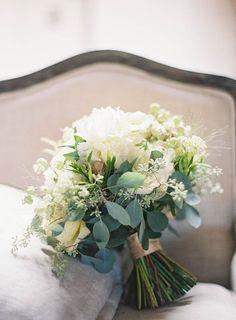 Bouquet: juliets, peonies, eucalyptus, anemone, ranunculus, and strantia.