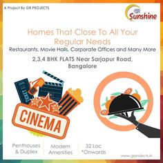 GR Sunshine : Homes That Close To All Your Regular Needs like Restaurants, Movie Halls, Corporate Offices and Many More   GR Sunshine is ongoing Project In Sarjapur Road, Which is close to WIPRO Corporate Office. Which Come with 1,2,3 BHK Flats. To Know more (Or) Booking: Visit: http://grprojects.in/apartments/sunshine/ (Or) Call: +91 8880681616