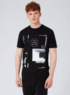 b20e04be85f Black New York Print T-Shirt Chaleco De Camiseta