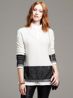 Marled Colorblock Vee Pullover Product Image