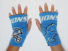 Lions Team Football Fingerless Gloves by TheLuxuryLine on Etsy, $9.00