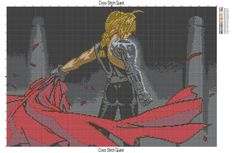 Cross stitch pattern of Edward Elric from Full Metal Alchemist. Though the pattern is large, it uses only 18 colors. It is highly recommended that you stitch this on black fabric as there is a huge… Cross Stitch Designs, Cross Stitch Patterns, Knitting Patterns, Edward Elric, Fullmetal Alchemist, Cross Stitching, Cross Stitch Embroidery, Pix Art, Anime Pixel Art