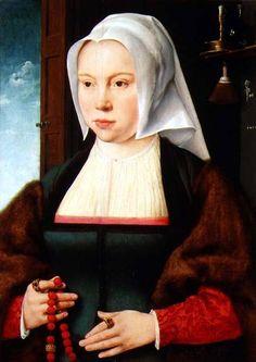 JOOS VAN CLEVE, pittore dell'altro rinascimento. The Unknown Lady, dipinto con colori ad olio su tavola. Conservato oggi a Firenze nella Galleria degli Uffizi.