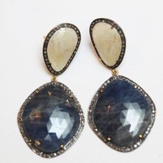 Sapphire & Pave Diamond Earrings from Blue Candy Jewelry http://stores.bluecandyjewelry.com/-strse-1153/Sapphire-Ivory-and-Blue/Detail.bok