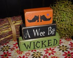 A WEE Bit WICKED Witch Shoes Wood Sign Letter Shelf Blocks Primitive Country Rustic Holiday Seasonal Home Decor