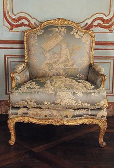 Armchair (bergère), Paris ca 1765, possibly by Louis I Cresson (1706–1761). Carved and gilded beechwood. Dimensions: H. 39-7/8 x W. 32 x D. 23-1/2 in. (101.3 x 81.3 x 59.7 cm) METMUSEUM