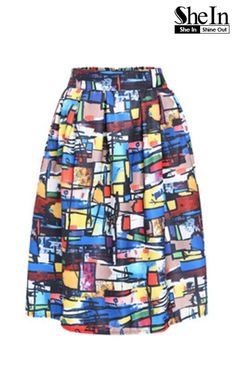 2be0568fe06005 Summer trendy for women fashion-Multicolor Graffiti Print Midi Skirt.  European fashion outfit with