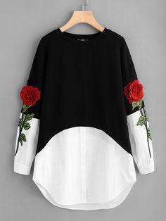 Контрастное модное платье с цветочной вышивкой