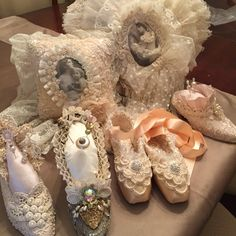 Altered shoes and pillows by Margaret Tomasso