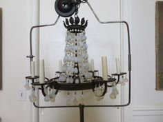 EXQUISITE-Old-Vintage-6-Light-CHANDELIER-Beaded-Strands-of-OPALINE-CRYSTAL-BEADS