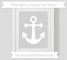 Silver Chevron  8x10 Anchor Art Print