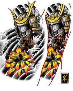 Tattoo Design By 💥 💥 Samurai Tattoo Sleeve, Dragon Sleeve Tattoos, Forearm Sleeve Tattoos, Best Sleeve Tattoos, Tattoo Sleeve Designs, Tattoo Designs Men, Hand Tattoos, Arabic Tattoos, Japanese Warrior Tattoo