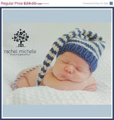 ON SALE Newborn Boy BABY Hat PHoTo PRoP Stripe by MadAboutColour, $25.20
