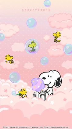 Snoopy happy in the clouds w/bubbles Baby Snoopy, Snoopy Love, Charlie Brown Y Snoopy, Charlie Brown Christmas, Snoopy Cartoon, Baby Cartoon, Cute Disney Wallpaper, Cute Cartoon Wallpapers, Snoopy Und Woodstock