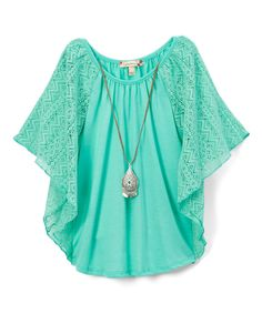 Take a look at this Speechless Jade Cape-Sleeve Top & Pendant Necklace - Girls today!