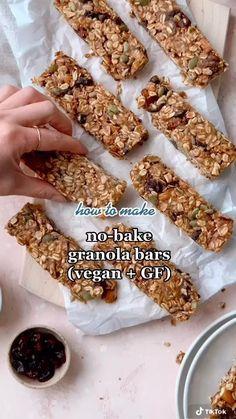 Healthy Sweets, Healthy Breakfast Recipes, Healthy Baking, Healthy Recipes, Eating Healthy, Healthy No Bake, Healthy Recipe Videos, Healthy Granola Bars, Granola Bar Recipes