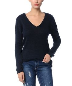 Another great find on #zulily! Navy Blue Eyelet Hi-Low Sweater #zulilyfinds