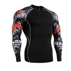 Fabric Material:  90%  Polyester   Closure Type:   Standard  	Collar: O-Neck   Sleeve: Long    Sleeve  Fit Type: Slim Fit   Thickness:   Standard   Color:   Black    Occasion:   Casual, Sport, Bodybuilding  Season:    Spring, Autumn   Tag Size: L, XL, 2XL, 3XL, 4XL  	 Package included:  1*T-shirt    	 	 Please Note:  	         1.Please see the Size Reference to find the correct size.