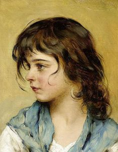 Eugene de Blaas (Italian; 1843-1931) ~ Portrait d'une jeune fille