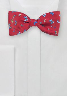Valentine's Day Gifts for Him Under $30: Summer Butterfly Bow Tie in Red, $29.90   Cheap-Neckties.com