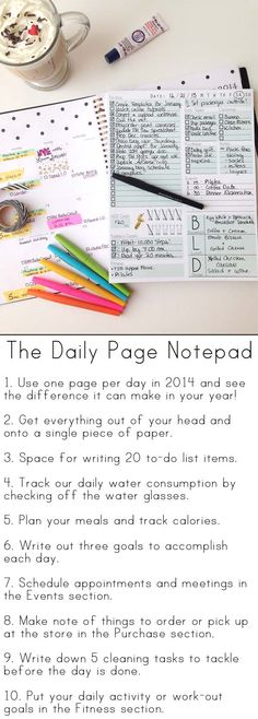 Organize your entire day on one sheet of paper with The Daily Page Notepad. Great for the New Year! (print off and add to filofax) To Do Planner, Life Planner, Planner Ideas, Planner Layout, Happy Planner, Daily Page, Do It Yourself Inspiration, Ideias Diy, Home Management