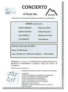 """5/7 Concierto a favor de AFAMER. Trespaderne  17h Residencia """"Virgen del Carmen""""  Merindades"""