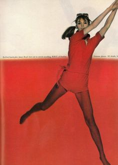 English model Jean Shrimpton, wearing red in British Vogue magazine, United Kingdom, 1966, photograph by Brian Duffy.