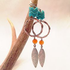 Silver Circle Earrings with Turq Accent Beads & Feather Dangle