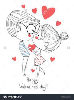 Valentine's Day. Boy and girl kissing. Love cards.
