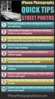 10 Quick Tips For Incredible iPhone Street Photography: http://iphonephotographyschool.com/quick-tips-street/
