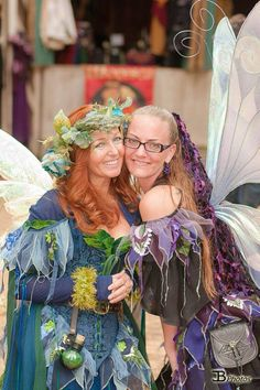 Willow Rose and Sprink in Moresca Faerie bodices and accessories.  Wings made by Faerieworks!