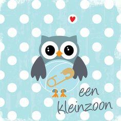 Felicitatie kaart voor de geboorte van een kleinzoon met een lief uiltje! Invitation Cards, Invitations, Emoticon, Baby Cards, Wall Prints, Hello Kitty, Baby Boy, Happy Birthday, Kids Rugs