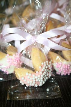 Chocolate dipped fortune cookie baby shower favors