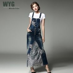 Women Denim Dress 2017 Summer Autumn Casual Fashion Floral Lace Embroidery Patchwork Suspenders And White Cotton T Shirts-in Dresses from Women's Clothing & Accessories on Aliexpress.com | Alibaba Group