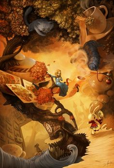 13 superbes illustrations de David Revoy Alice in wonderland love the perspective twists in this one…almost gives you vertigo just trying to figure it out. Sort of like Esher meets Alice. Lewis Carroll, Alice In Wonderland Artwork, Alice Liddell, Dark Fantasy, Fantasy Art, Chesire Cat, Alice Madness, Me Anime, Fan Art