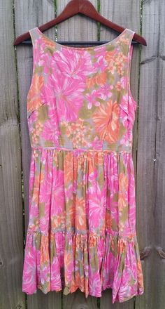 USED *TRACY FEITH* for Target Dress Sz 13, L Olive Pink Orange Floral Sleeveless #TRACYFEITHFORTARGET