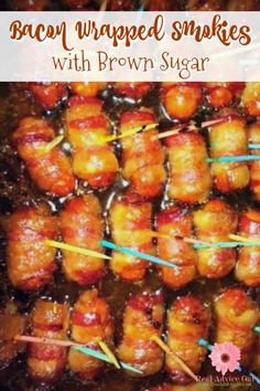 Serve this delicious Bacon Wrapped Smokies Recipe with Brown Sugar on your next game day party. It's also great for potlucks! Serve this delicious Bacon Wrapped Smokies Recipe with Brown Sugar on your next game day party. It's also great for potlucks! Appetizers For Kids, Bacon Appetizers, Easy Appetizer Recipes, Party Appetizers, Party Snacks, Dinner Recipes, Bacon Wrapped Lil Smokies, Little Smokies Recipes, Brown Sugar Bacon
