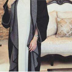 Pinterest: @eighthhorcruxx. Open black and grey abaya
