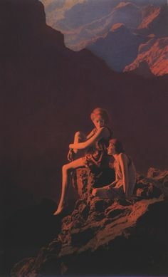 "Maxfield Parrish - ""Contentment""...(Mine is much more BLUE than this one. This print doesn't do it justice...)"