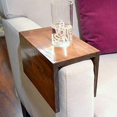 This simple woodworking project helps guests keep their drink resting comfortably on the arm of your chair - with less risk of spill! | Woodworking | Pinterest