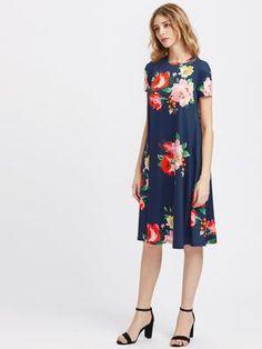 086c8e323a Flower Print Side Pocket Detail Swing Tee Dress Pocket Detail