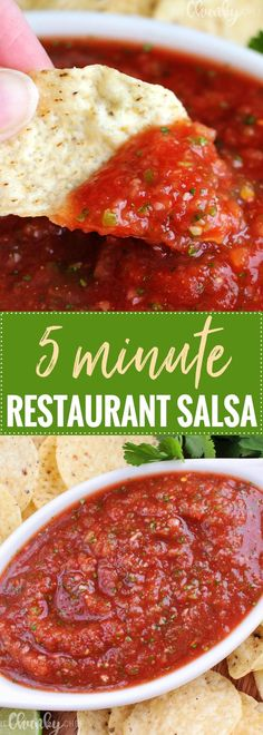 "5 Minute Restaurant Salsa | The Chunky Chef | Bright and fresh, this salsa is the best you've ever tasted! So easy to make and it's sure to ""wow"" anyone you make it for! 